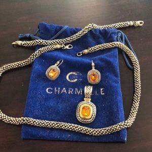 Jewelry - Charmelle set. Yellow topaz color- silver, gold